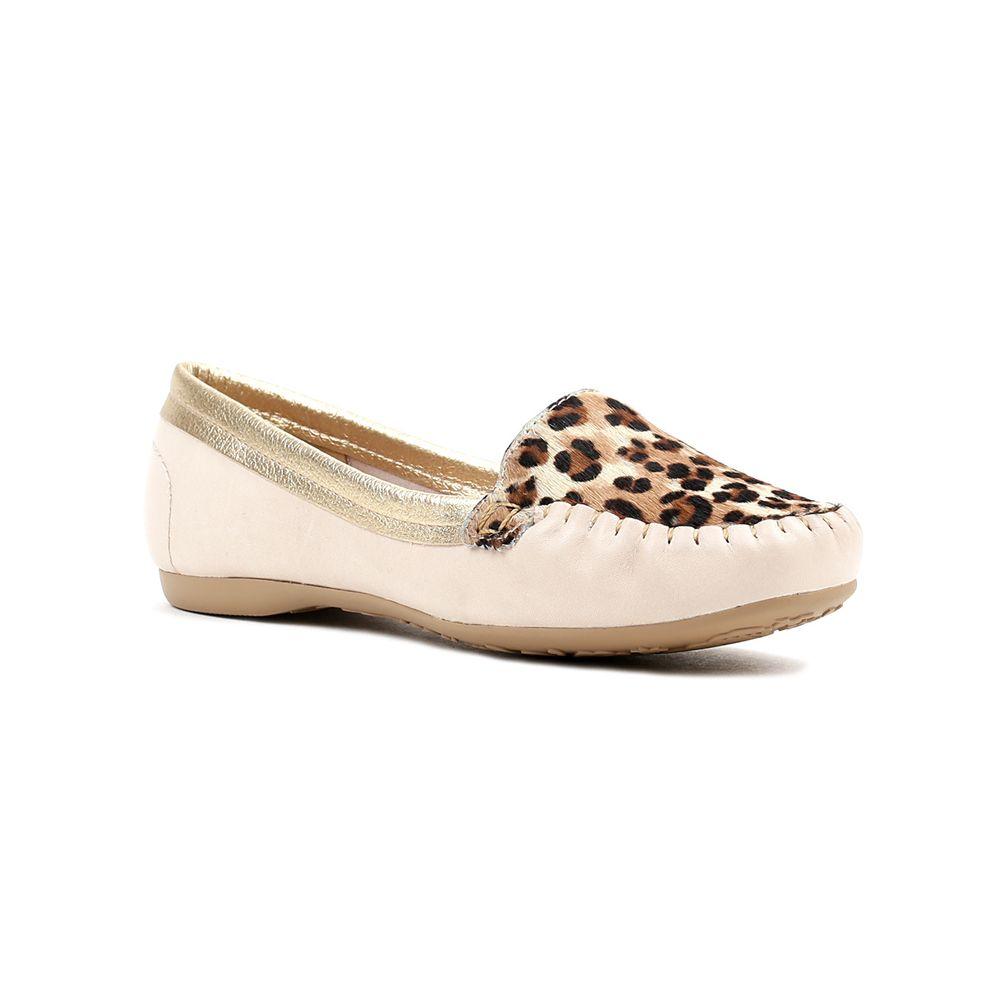 Sapato Mocassim Feminino Feminino Dakota Animal Print Bege - Lojas ...