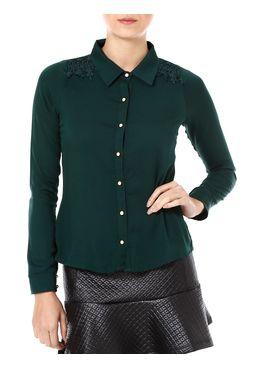 Camisa-Manga-Longa-Feminina-Autentique-Com-Renda-Verde
