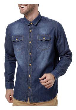Camisa-Jeans-Manga-Longa-Masculina-Azul-Escuro