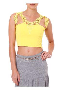 Top-Cropped-Feminino-Com-Renda-Amarelo