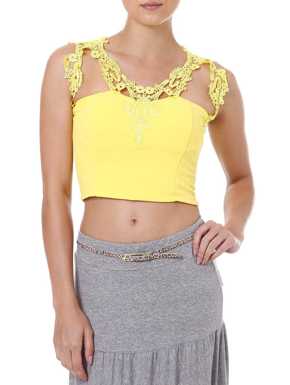 Top Cropped Feminino com Renda Amarelo G