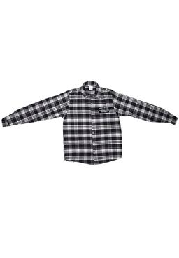 Camisa-Manga-Longa-Juvenil-para-Menino-Xadrez-Preta-Cinza