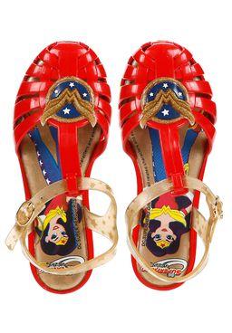 Sandalia-Infantil-para-Menina-Vermelho-Ouro