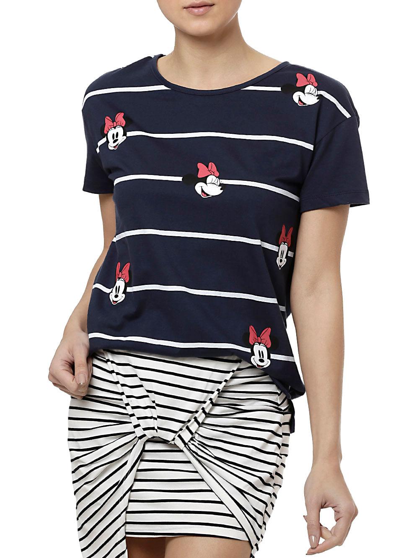 Camiseta Baby Look Feminina Disney Azul marinho M