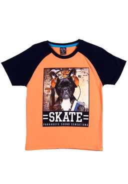 Camiseta-Manga-Curta-Infantil-para---Menino-Laranja