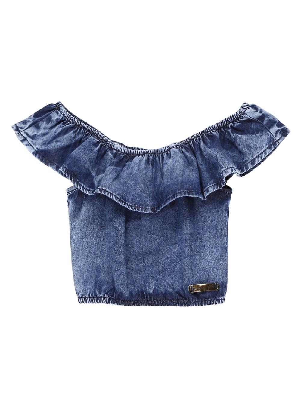 Blusa Regata Jeans Infantil Para Menina - 12