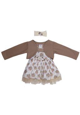 Vestido-Manga-Longa-Infantil-para-Menina-Bebe---Bege