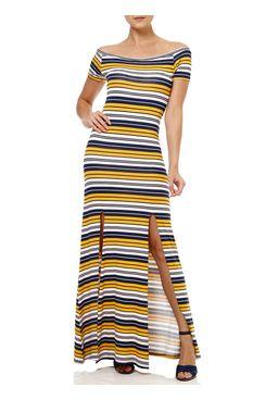 Vestido-Longo-Feminino-Azul-marinho-amarelo