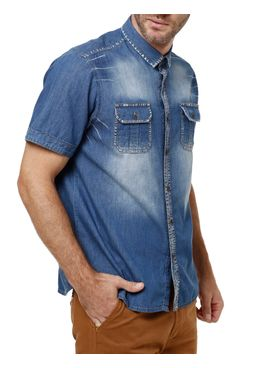 Camisa-Manga-Curta-Masculina-Azul-claro