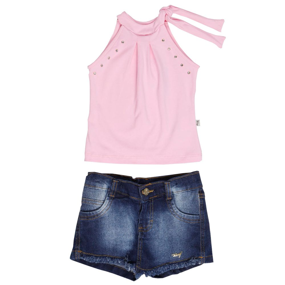 Conjunto infantil para menina rosa lojas pompeia for Rosa weiay gestreifte tapete