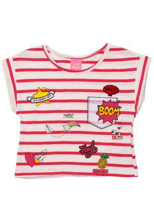 Blusa-Manga-Curta-Infantil-Para-Menina---Bege-rosa