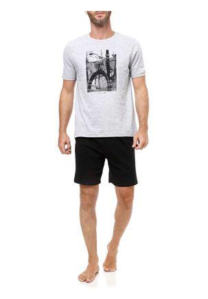 Pijama-Curto-Masculino-Cinza-claro