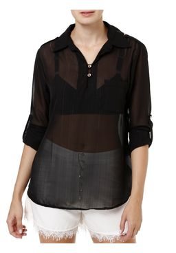 Camisa-Manga-3-4-Feminina-com-Regulador-Preto