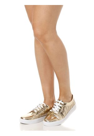 Tenis-Casual-Feminino-Dourado