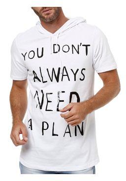 Camiseta-Manga-Curta-Masculina-com-Capuz-Branco