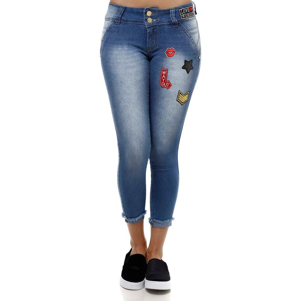 Calu00e7a Capri Jeans Feminina Azul - Lojas Pompeia