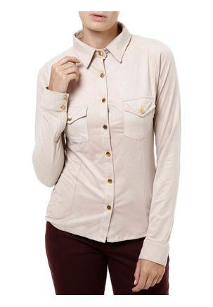 Camisa-Manga-Longa-Feminina-Autentique-Suede-Bege