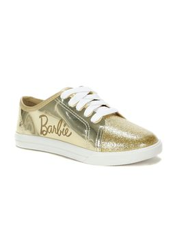 Tenis-Casual-Barbie-Infantil-Para-Menina---Branco-dourado