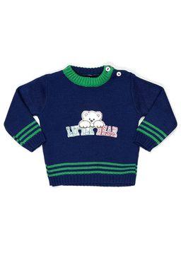Sueter-Fechado-Para-Menino-Bebe---Verde-azul-marinho