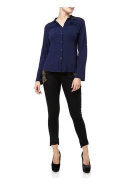 Camisa-Manga-Longa-Feminina-com-Regulador-Azul-escuro