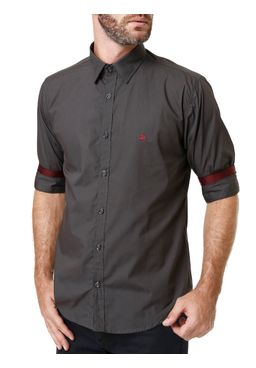 Camisas-Manga-3-4-Masculina-Cinza