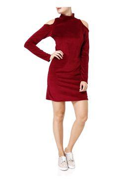 Vestido-Veludo-Medio-Feminino-Vinho