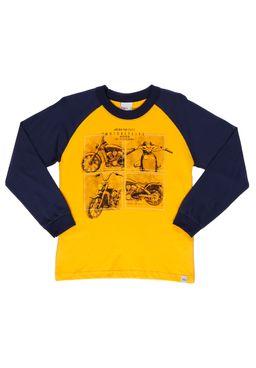 Camiseta-Manga-Longa-Infantil-Para-Menino---Amarelo