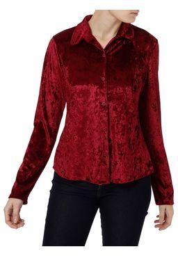 Camisa-Manga-Longa-Feminina-Veludo-Molhado-Bordo