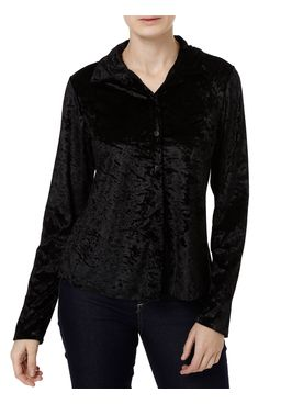 Camisa-Manga-Longa-Feminina-Veludo-Molhado-Preto