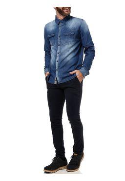 Camisa-Manga-Longa-Masculina-Dixie-Azul