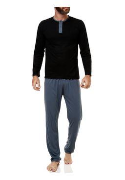 Pijama-Longo-Masculino-Preto-cinza