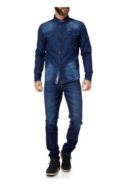Camisa-Manga-Longa-Masculino-Gangster-Azul