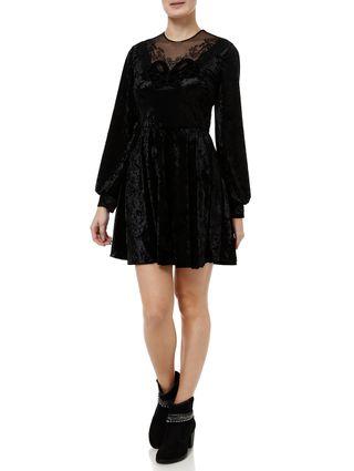 Vestido-Curto-Feminino-Autentique-Veludo-Preto