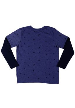Camiseta-Manga-Longa-Juvenil-Para-Menino---Azul