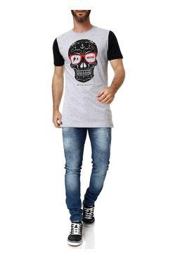 Camiseta-Manga-Curta-Masculina-No-Stress-Cinza-claro