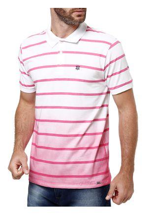 Polo-Manga-Curta-Masculina-Branco-rosa