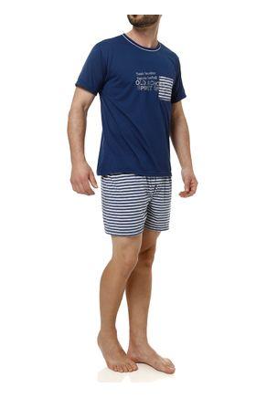 Pijama-Curto-Masculino-Azul