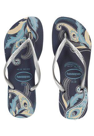 Chinelo-Feminino-Havaianas-Slim-Organic-Azul-marinho-prata