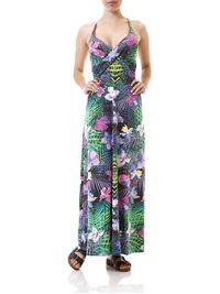 Vestido-Longo-Feminino-Floral-Verde-Lilas