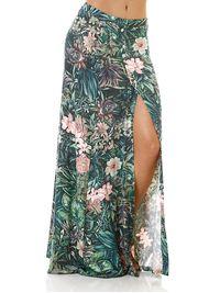 Saia-longa-Feminina-Floral-Verde