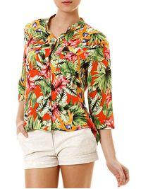 Camisa-Manga-3-4-Feminina-Floral-Laranja-Verde