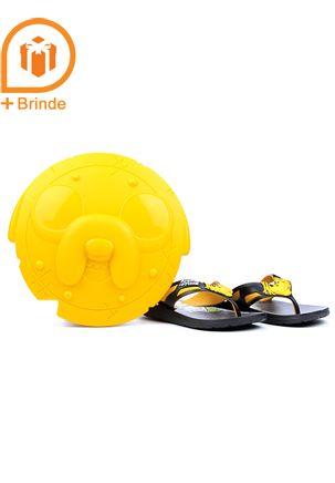 Chinelo-Infantil-para-Menino-Adventure-Time-Preto-Amarelo---Brinde