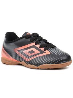 Tenis-de-Futsal-Infantil-para-Menino-Umbro-Speed-II-Jr-Preto-Coral