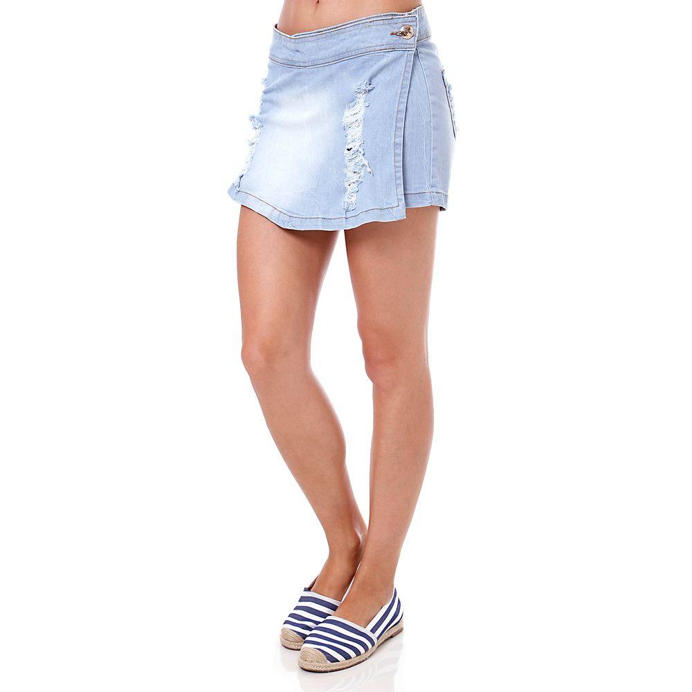 Short-Saia Jeans Feminino Bivik Azul - Lojas Pompeia