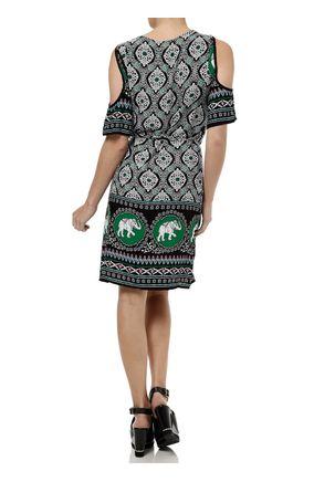 Vestido-Medio-Feminino-Estampado-Verde