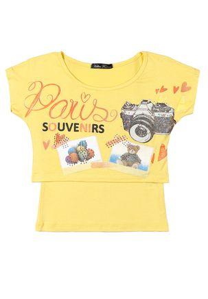 Blusa-Manga-Curta-Juvenil-Para-Menina---Amarelo