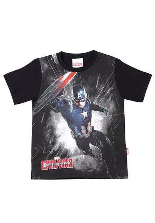 Camiseta Manga Curta Infantil Civil War para Menino