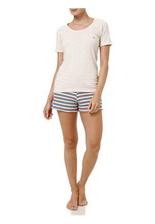 Pijama-Curto-Feminino-Bege-estampado