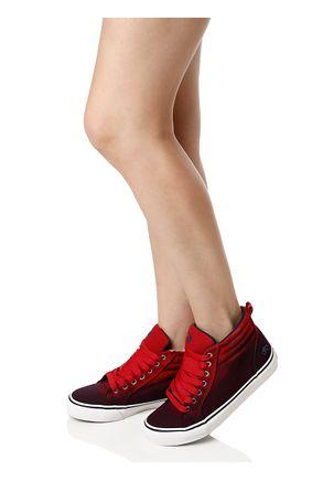 Tenis-Casual-Feminino-Capricho-Cano-Alto-Vermelho-Azul-Marinho