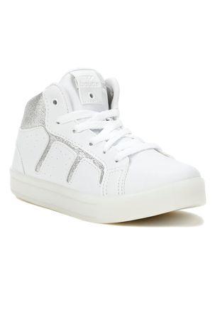 Tenis-Cano-Alto-Casual-Infantil-Para-Menina---Branco-prata